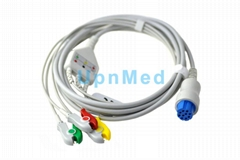 Datex Ohmeda 3 lead ECG Cable with leadwires, 10pins