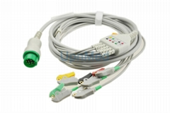 Fukuda One piece 5-lead ECG Cable with leadwires