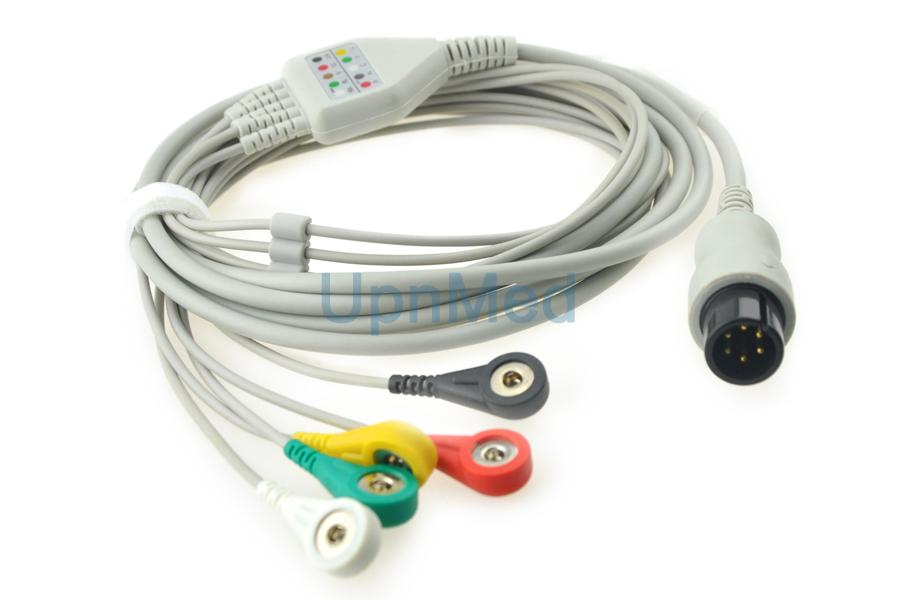 Universal One piece 5-lead ECG Cable with leadwires 2