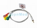 Earphone ECG cable with 3 lead wires