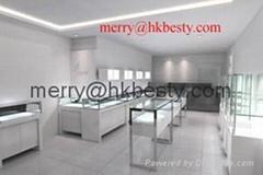 白色高光油漆LED 珠寶展示櫃商場專用