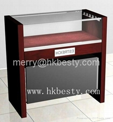Glass and wood jewelry storage counter