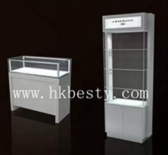 white glossy finish jewelry display