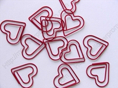Fancy red heart shaped paper clips
