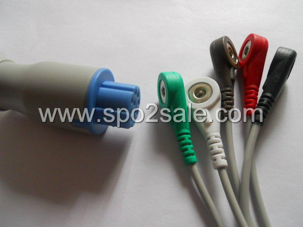 Datex 545328 one piece 5-lead ECG Cable with snap leadwires,AHA 1