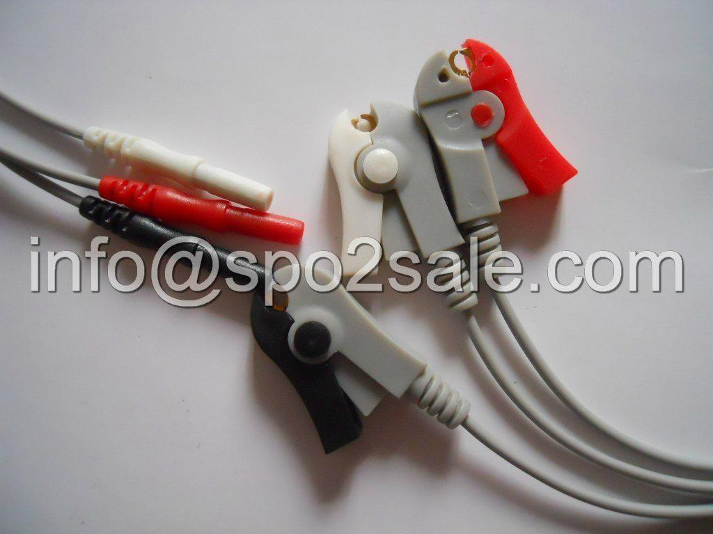 Din 3-lead grabber ECG Leadwires,AHA 1