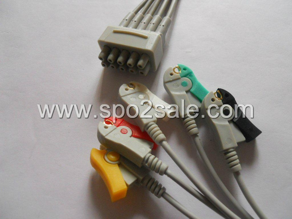 GE- Marquette 414556-006 5-Lead IEC Grabber Leadwires  1