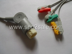 HP one -piece 3-lead IEC Grabber cable with leadwires