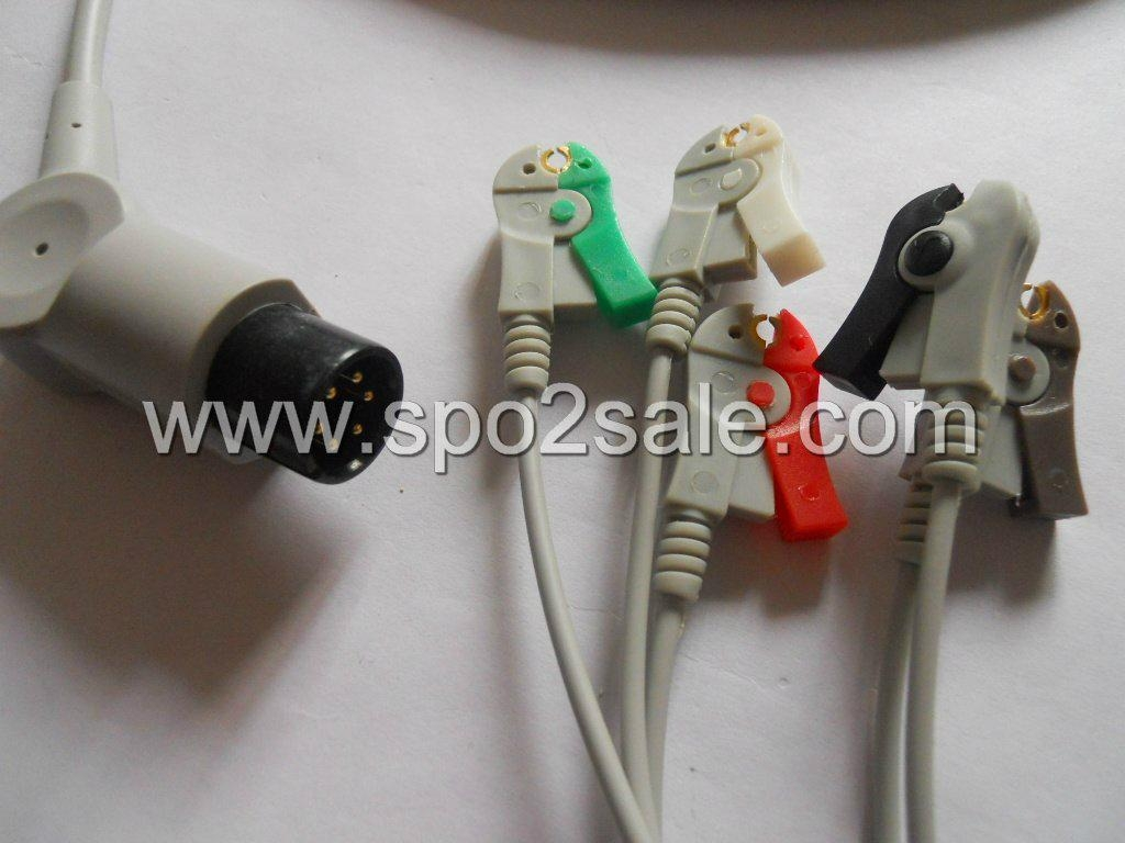 One piece 5-lead ECG Cable with grabber leadwires 1