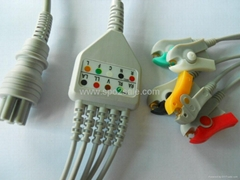 One Piece ECG Cables Colin BP88S,IEC With clip