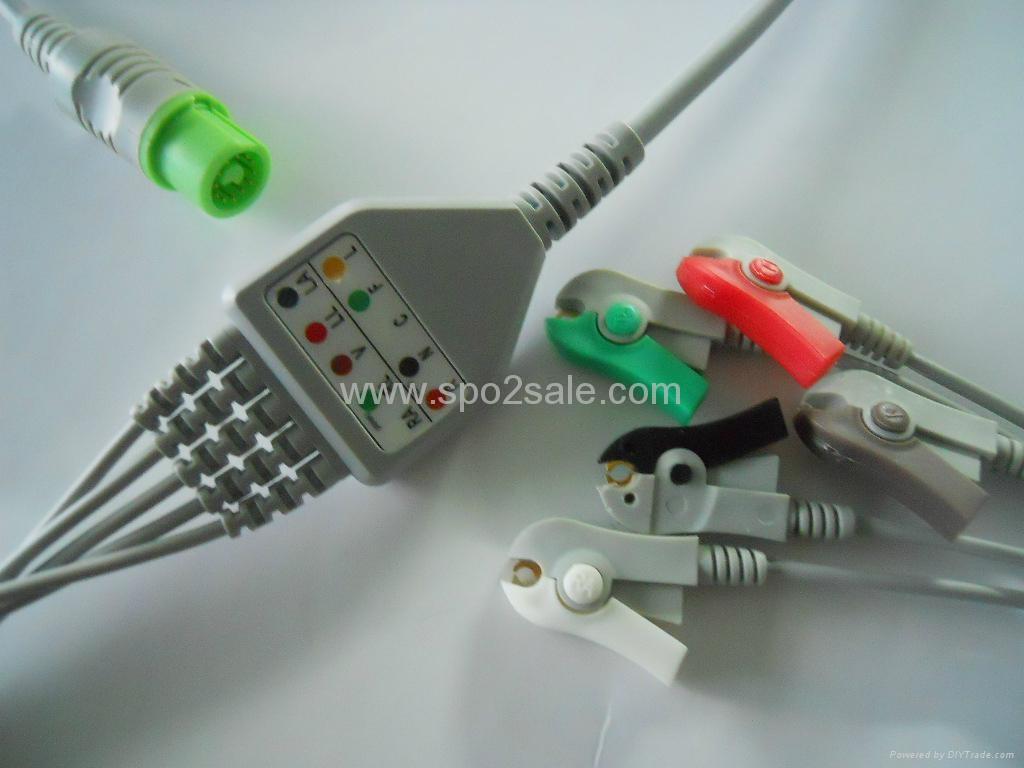 Fukuda Denshi 0012-00-1192 one piece 5 lead ECG Cable,AHA,Clip 1