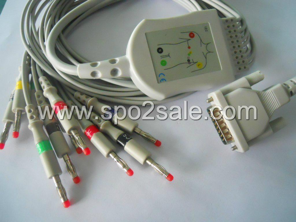Edan EKG Cable for E-1200,  SE-601C,SE1200-Express,SE12,SE12 Express,SE-3,SE1,SE 1