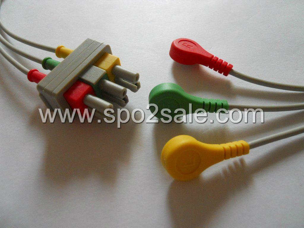 HP M1615A 3-lead leadwires,IEC,Snap 1