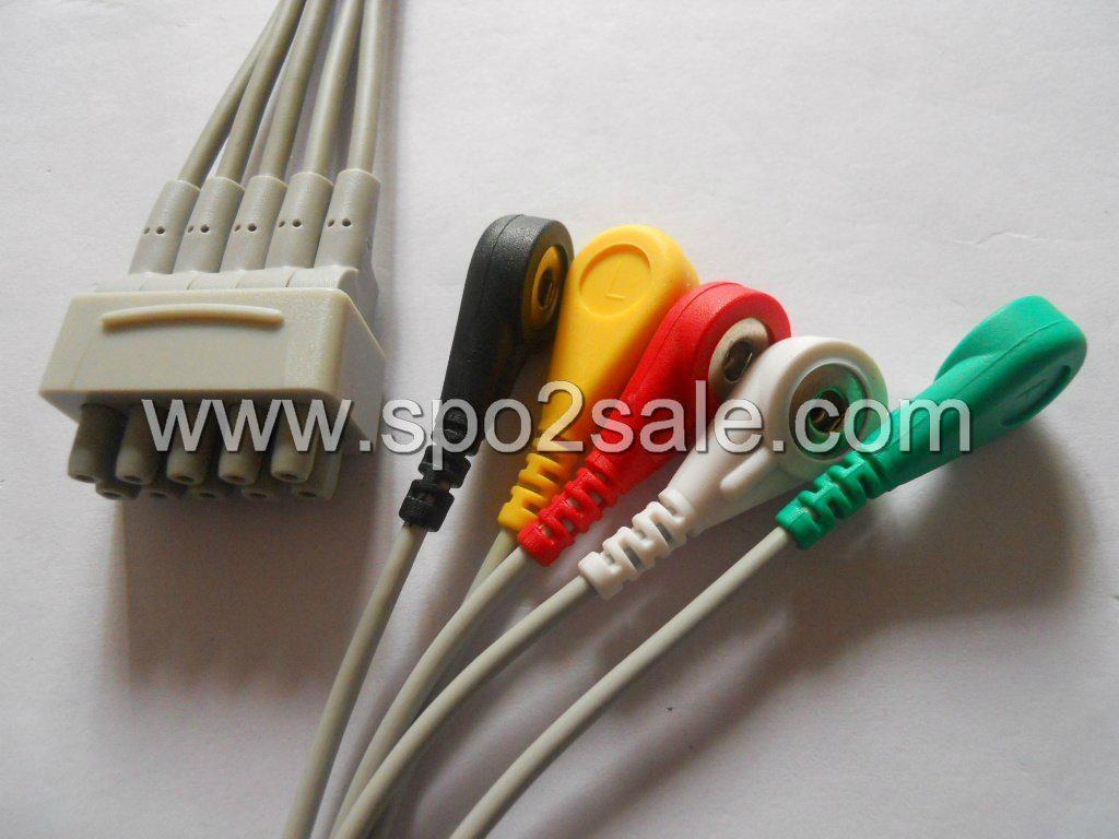 GE 411202-003(E9008LB) 5 Leadwires,IEC,snap 1