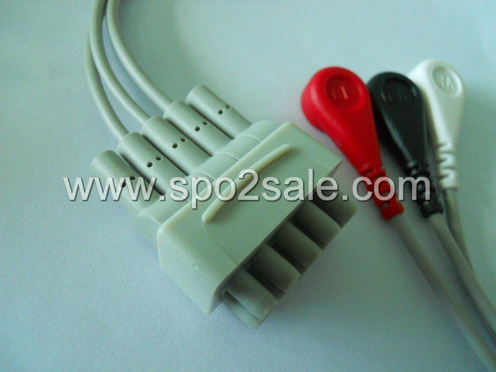GE 411203-002(E9008LG) 3 Leadwires,AHA,snap 1