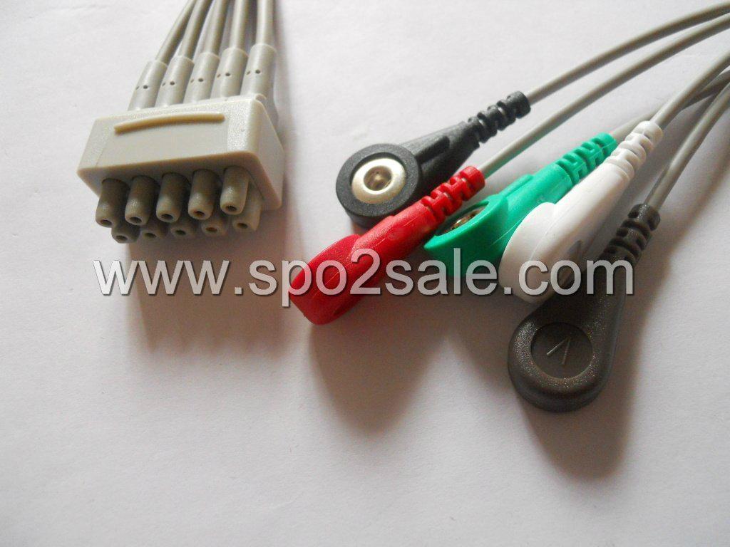 GE 411202-002(E9008LA) 5 Leadwires,AHA,snap 1
