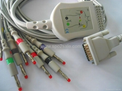 Schiller AT-1 one-piece 10 lead EKG cable and leadwire