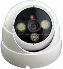 IR Dome Alarm Camera with strong LED light frighten intruder