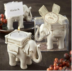 Lucky Elephant Antique-Ivory Candle Holder for Wedding favors