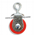"""Double 3 1/2"""" cast iron Red pulley"""