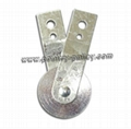 "Pulley 2-1/2"" steel, long steel straps"