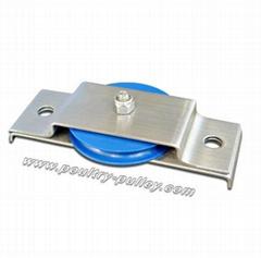 "Pulley 2-1/2"" flush mount w/SS brkt (blue) horizontal"