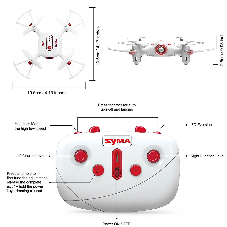 Syma X20 Pocket Drone 2 4ghz Remote Control Mini Rc