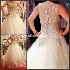 Wholesale Ball Gown Straps Heavy Hand Beads Luxury Wedding Dress  LU1308