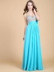 2014 Fashion Sexy Elegant A line floor length V neck color crystal evening dress