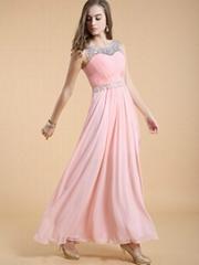 2014 Hotsale Fashion Chiffon Beaded Elegant Long Formal Party Dresses