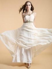 2014新款晚熱銷雪紡禮服 長款雪紡連衣裙主持人公司年會單肩禮服