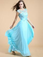 2014 Popular Spring fashion Chiffon Lace Beading Floor Length Evening Dresses