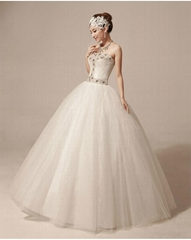 Wholesale In Stock Ball Gown Sweetheart Beads Tulle Satin Wedding Dress HS1013