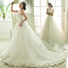 High Neck A Line Organza Bridal Dress Wedding Dress 230