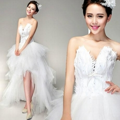 In Stock Sweetheart Hi-Low Feather Bridal Dress 7003