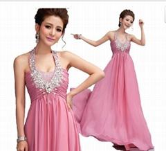 2014 New In Stock A-line Halter Crystal Pleats Chiffon Evening Dress 9021