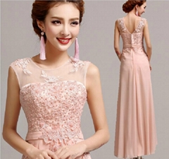 2014 New In Stock A-line Straps V-back Lace Chiffon Pearls Evening Dress 5517