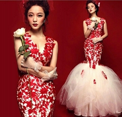 New Style Mermaid Deep V-neck Red Lace with Ivory Tulle Satin Evening Dress 1160