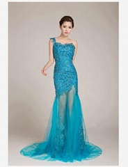 New Popular One Shoulder Blue Lace Evening Dress Prom Dress 5511