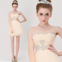 New Sweetheart A Line Champange Beading Graduation Dress 5920