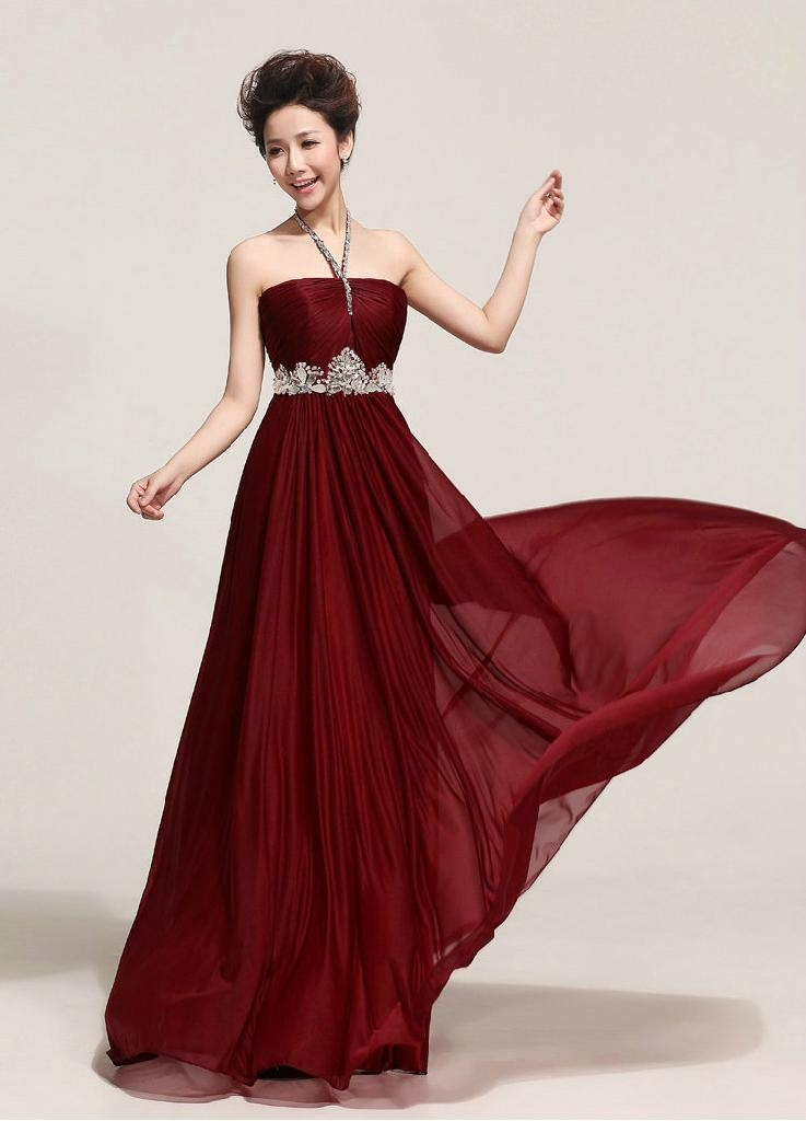 2014 Halter Floor Length Beading Evening Dress Prom Dress Party Dress