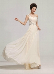 2014 One Shoulder Beading Chiffon Evening Dress Party Dress LF147