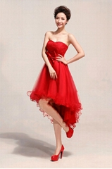 2014 Sweetheart Hi Low Red Bridesmaid Dress Party Dress LF157