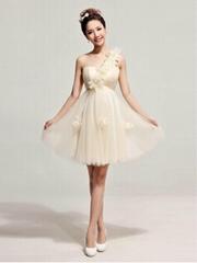 2014春夏新款單肩禮服時尚短款新娘敬酒服婚紗小禮服公主晚禮服女 LF170