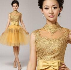 金色透視珠繡蕾絲挂脖新娘結婚敬酒服短款婚紗小晚禮服新娘5963