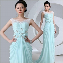 Wholesale New Lace Chiffon Evening Dress With Train QX2128
