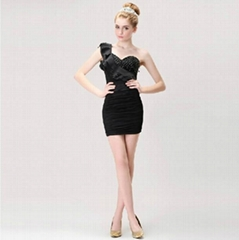 One Shoulder Black Short Party Dress Cocktail Dress TS7136