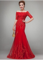 2014 New Strapless Red Evening Dress Floor Length Prom Dress LF0190