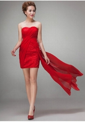 Strapless Shor Red Lace Chiffon Party Dress LF193