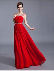 2013 New Sexy Red Beading A Line Chiffon Evening Dress Prom Dresses LF1001